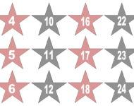 Pins Buttons Sterne zum Basteln ausschneiden ausdrucken aufkleben Adventskalender