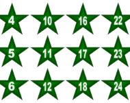 Zahlen 1,2,3,4, bis 24 für Adventskalender Vorlage Xobbu PDF