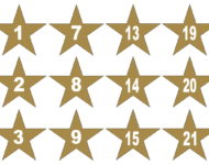 Zahlen Adventskalender zum Ausdrucken Vorlage Pin Stern Gold