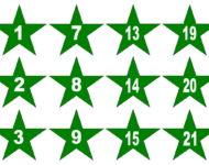 Grüne Sterne Adventskalender basteln Vorlage