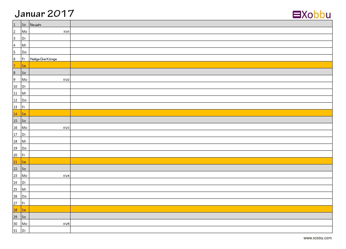 Kalender gelb Querformat