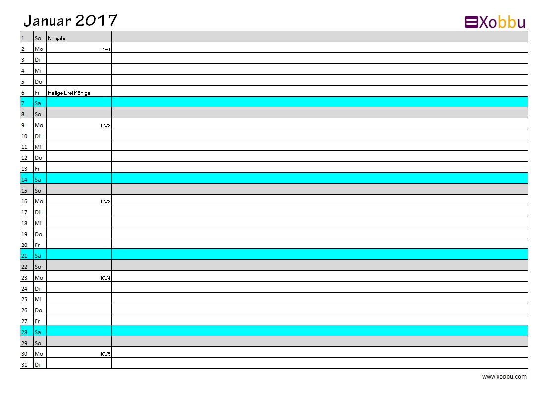 Kalender 2017 Vorlagen zum Ausdrucken (PDF - Excel - JPG)