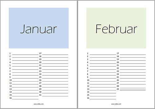 Geburtstagskalender-PDF