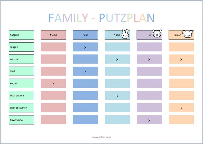 Putzplan Vorlage Kinder