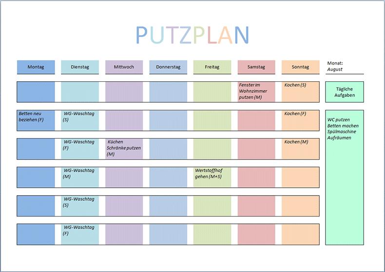 Putzplan Vorlage PDF und Word