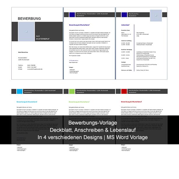 Bewerbungsvorlage in verschiedenen Designs