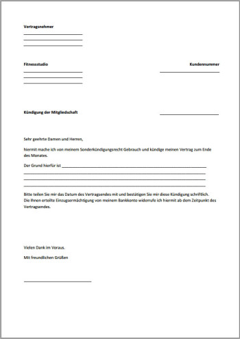 Kündigung Fitnessstudio Vorlage Text Word Pdf