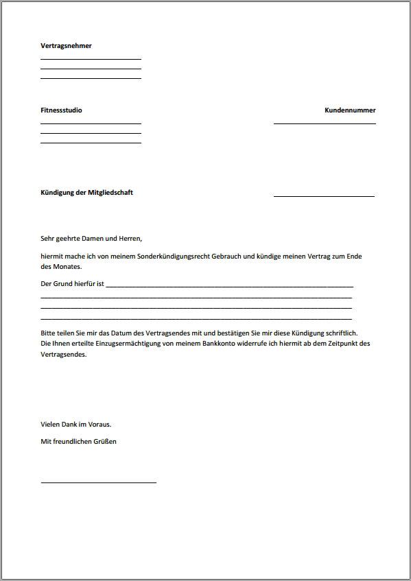 k ndigung fitnessstudio vorlage text word pdf. Black Bedroom Furniture Sets. Home Design Ideas
