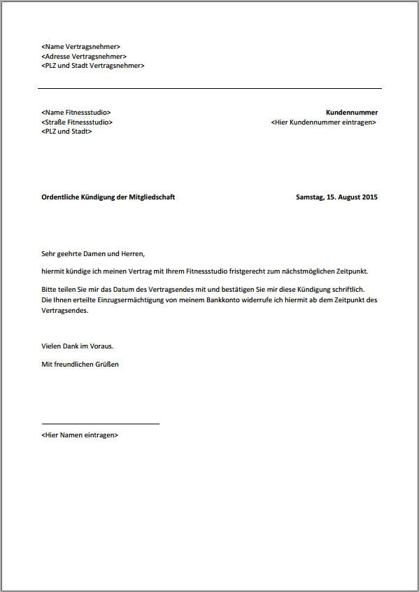 Vorlage K Ef Bf Bdndigung Wohnung Zum Ausdrucken