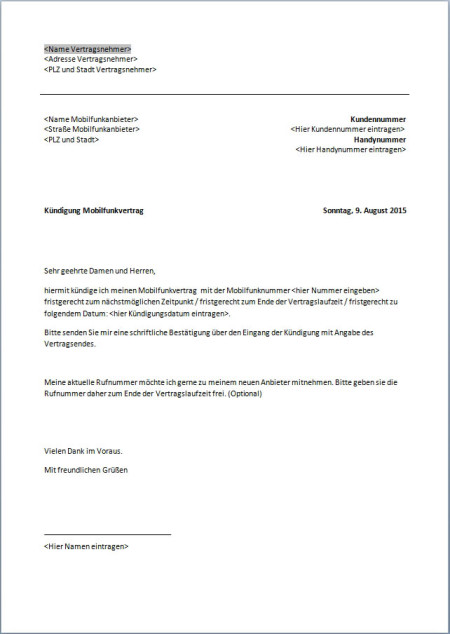 Mobilfunkvertrag Kündigung Word