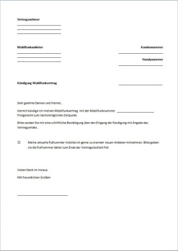 Handyvertrag Kündigung