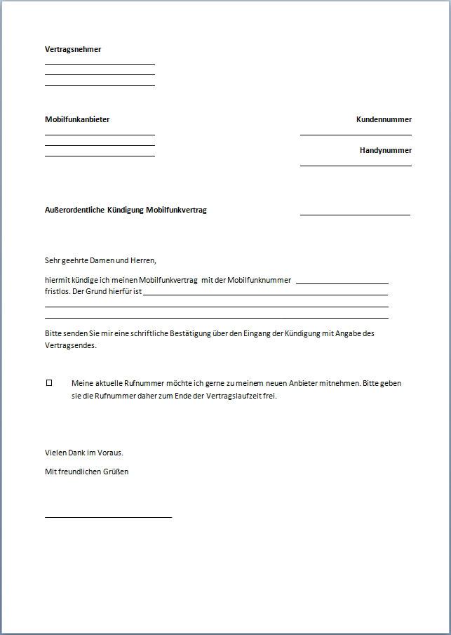 Kündigung Handyvertrag Vorlage Text Word Pdf