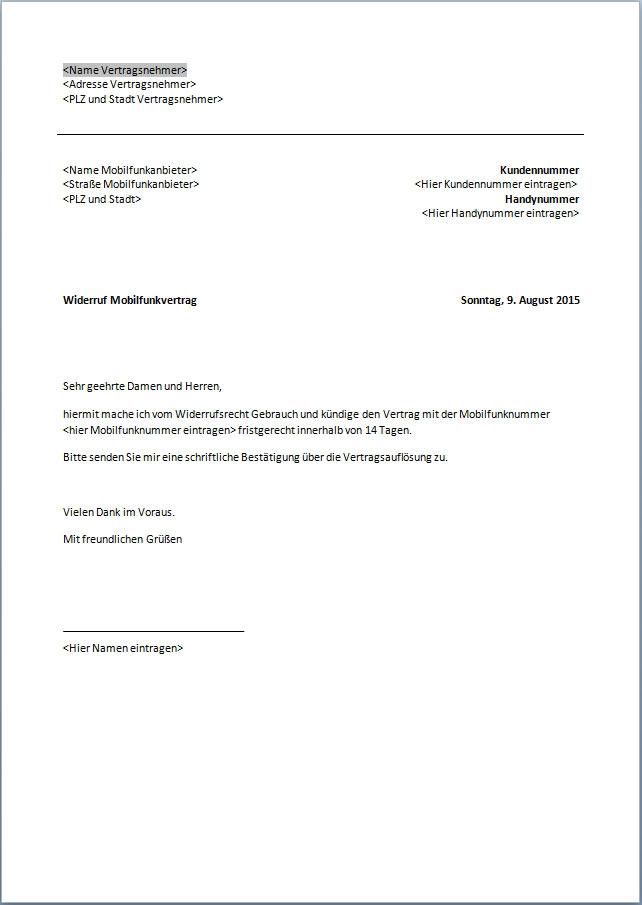 Muster Widerrufsformular Telekom