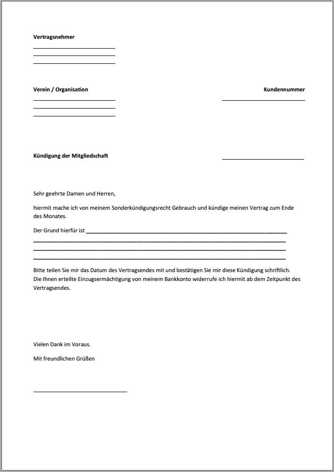 Kündigung Mitgliedschaft Vorlage Text Word Pdf