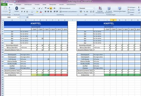 Excel Vorlage Kniffel Download