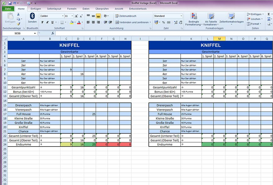 Excel Vorlage Kniffel Download