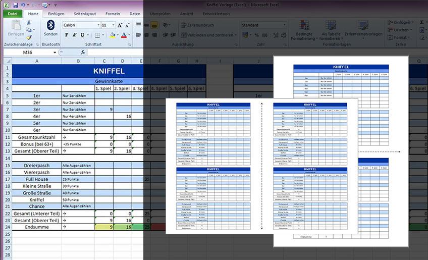 Kniffel Vorlage (Excel & PDF)