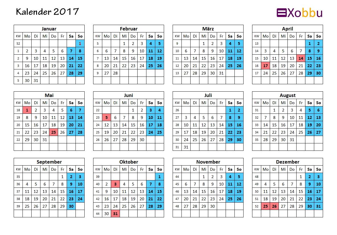 Kalendervorlage ganzes Jahr 2017