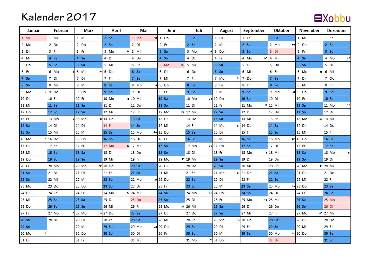 Kalender 2017 blau